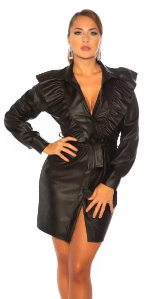 Fashionable Kunstleder Langarm Minikleid mit Knopfleiste und Volant