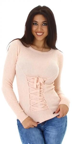 Uni Langarm Pullover Schnürung