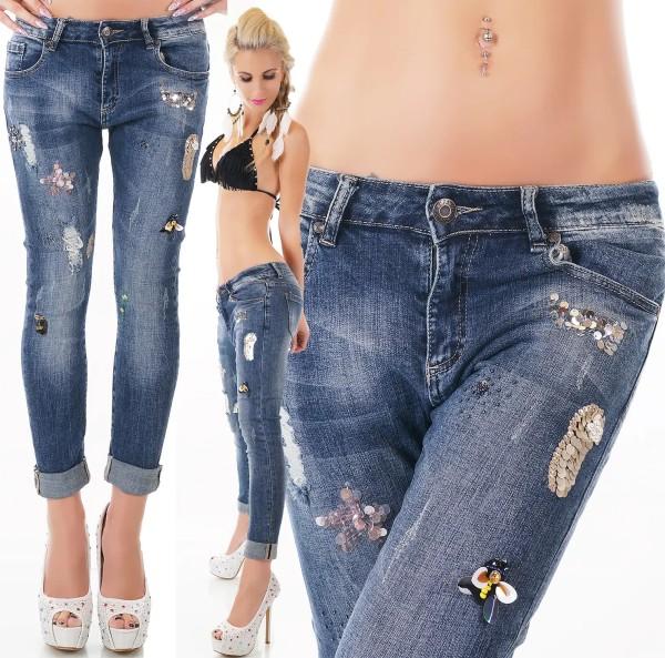 Hoch geschnittene Skinny Röhren-Jeans im Used-Look