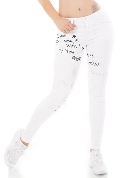 Röhren Skinny Jeans im Destroyed-Look mit Print