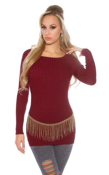 Rippstrick-Pullover in dezentem High-/Low-Style