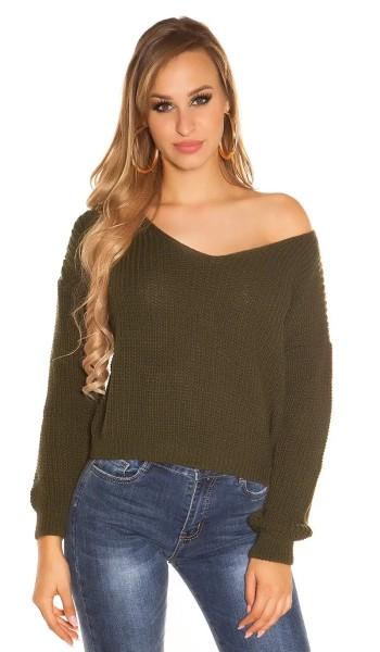 Grobstrick-Pullover mit V-Neck und sexy Rückenansicht