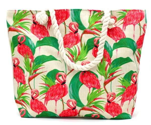 Flamingo Print Strandtasche Henkeltasche