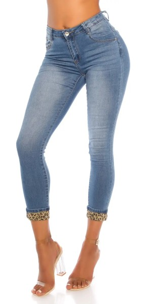 Casual Skinny High Waist Jeans mit Leo-Touch