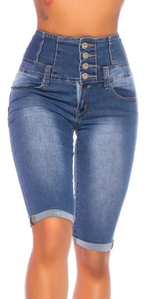 Röhren Jeans Bermuda im High Waist-Style