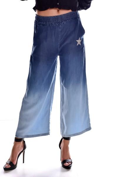 Schlaghose Jeans Look Casual Marlene Farbverlauf Glitzer Stern