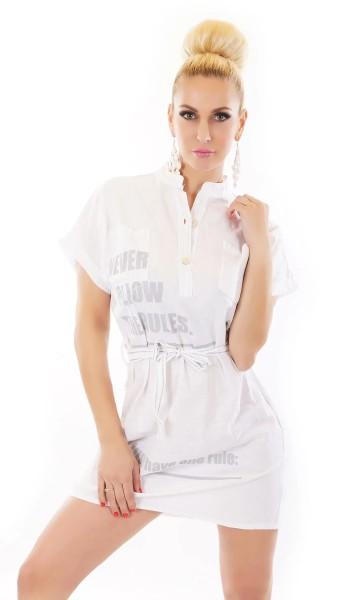 Casual Kurzarm Blusenkleid Long Bluse mit Print und Gürtel