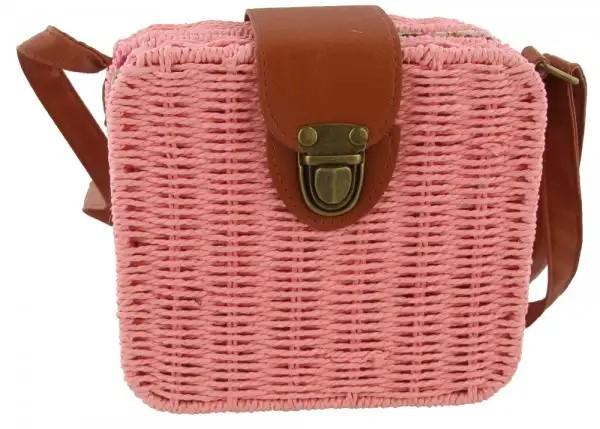 Stroh-Tasche im Köfferchen-Design mit verstellbarem Schulterriemen