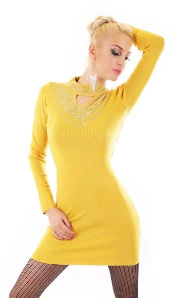 Glamour Turtle Neck Long Pullover mit Cutout und Deko Strass