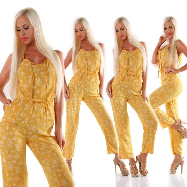 Sommer Overall Kordelträger Blumen Print Maxi Jumpsuit V-Neck Casual