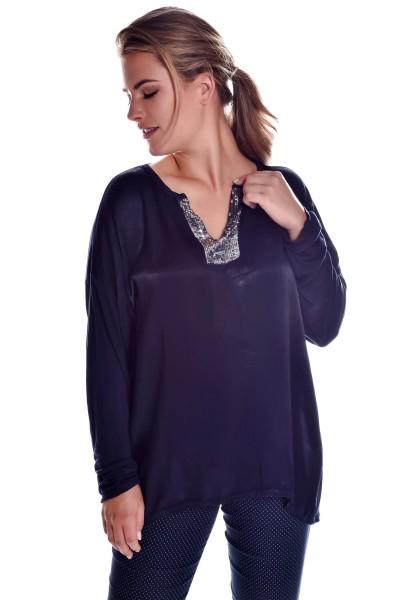 Cocktail Shirt Langarm V-Neck Deko Pailletten Oversize Glanz Effekt