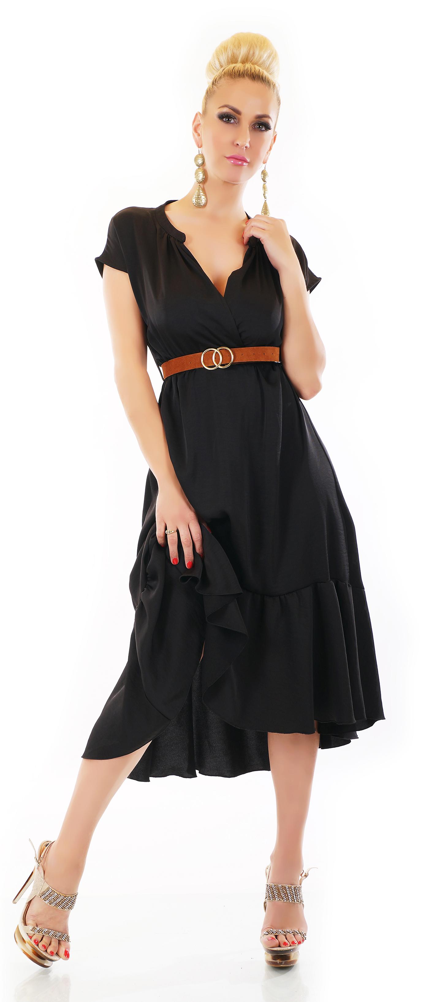 Midi Kleid mit Wickel-V-Neck und Gürtel   eBay