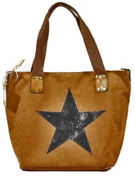 Tasche Bag Shppper Vintage Leinen Kunstleder Glitzer Stern