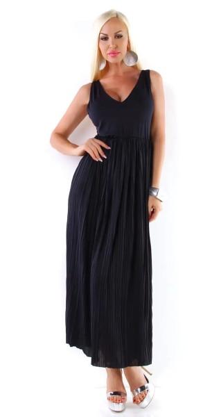 Maxikleid V-Neck Freizeit Sommerkleid Plissee Abendkleid
