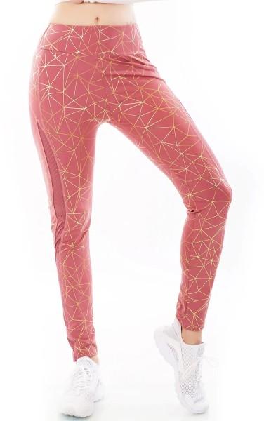 Sporty Fitness Leggings mit Metallic-Print und Mesh-Einsatz