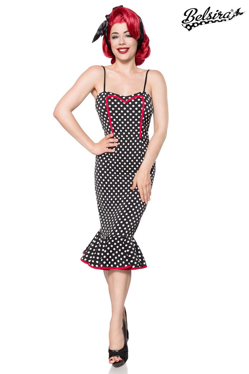Gepunktetes Retro Kleid im Meerjungfrauen-Look