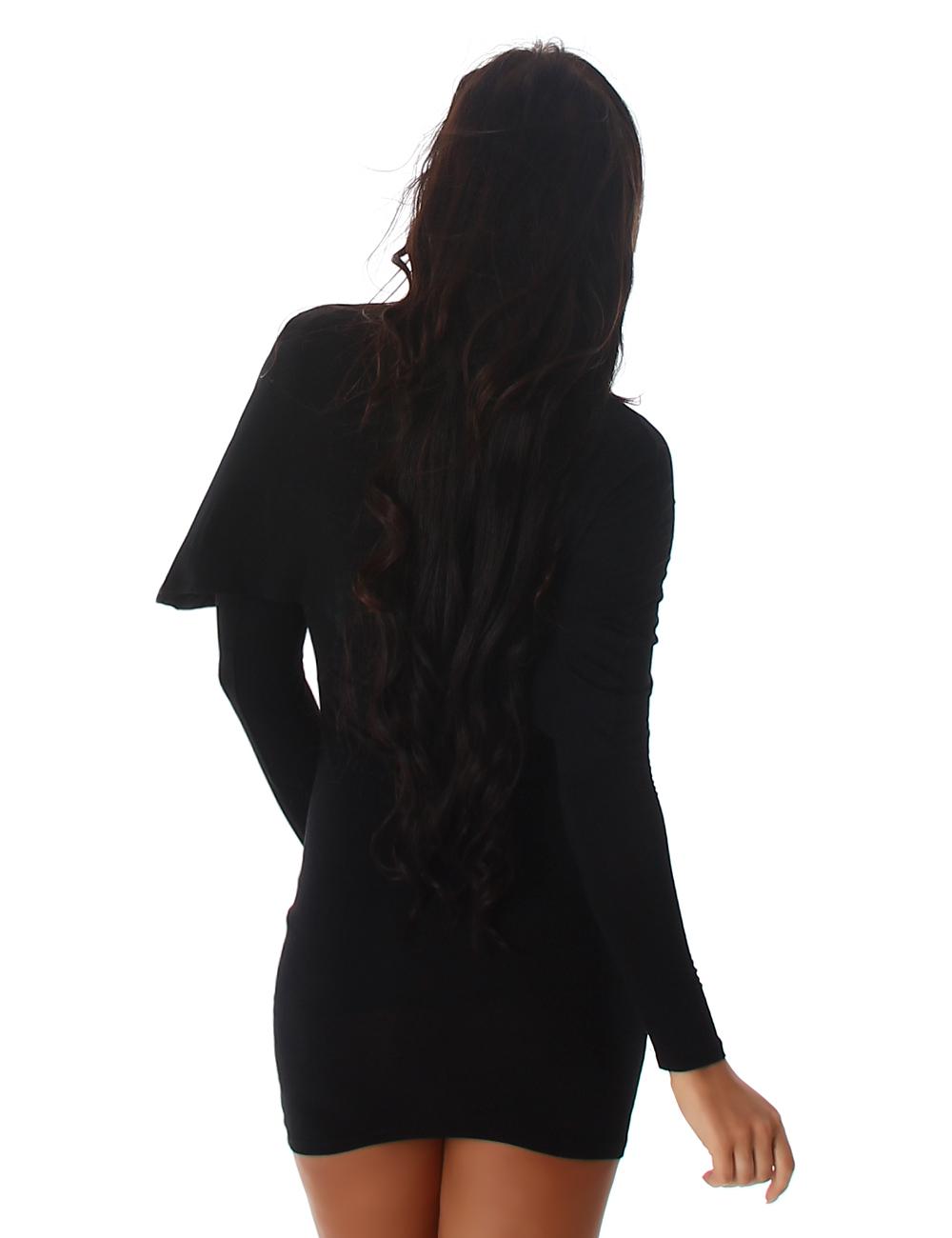 Manches longues Mini-robe avec volant-Effet