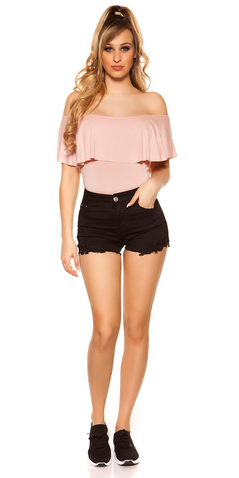 High Waist Jeans-Shorts Shorts en aspect Use Avec Dentelle