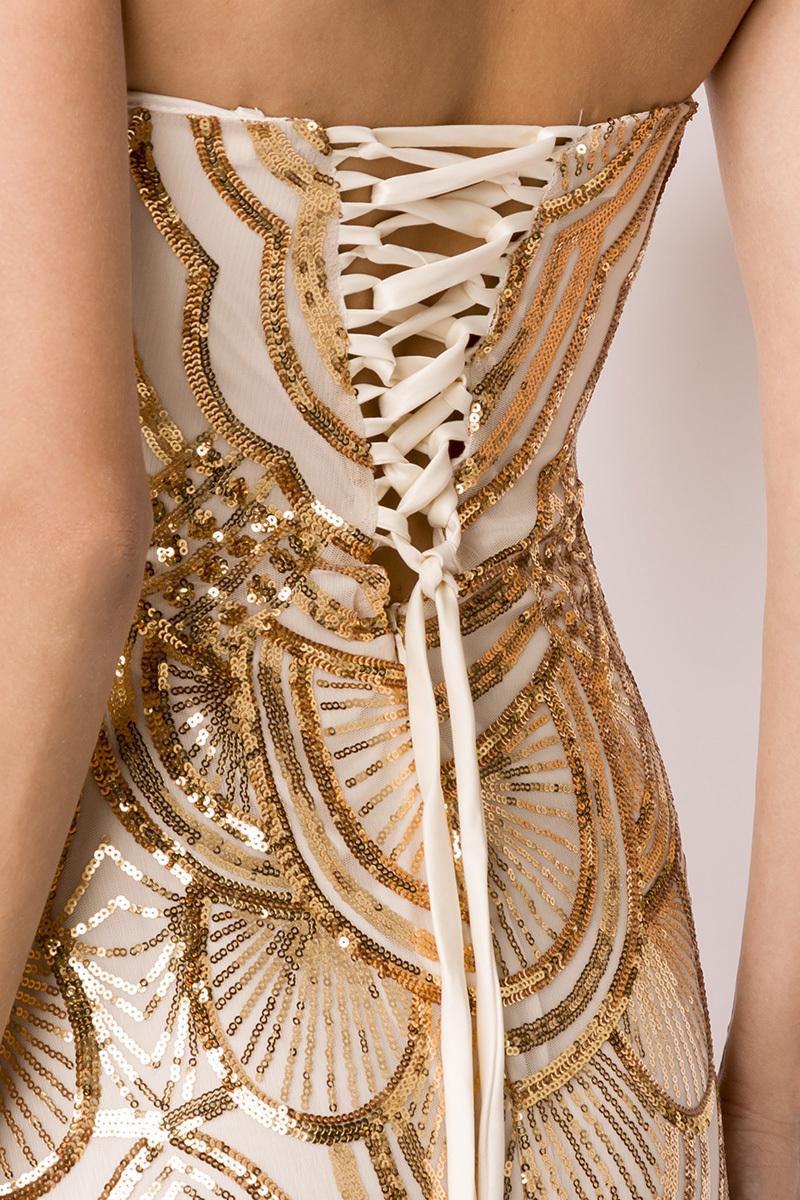 Details zu Glamorous Bandeau Abendkleid mit Corsagen am Rücken